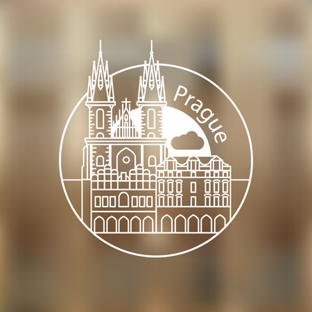 Modern linear round  on blurred background. One line travel identity concept. Church of Our Lady before Tyn - The symbol of Prague, Czech Republic.