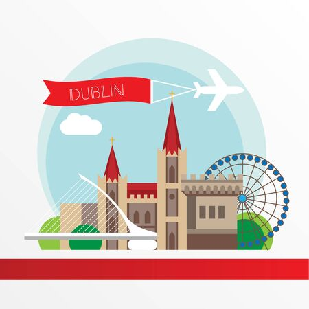 Dublin Ireland, detailed silhouette. Trendy vector illustration, flat style. Stylish colorful landmarks. The concept for a web banner. Business icon