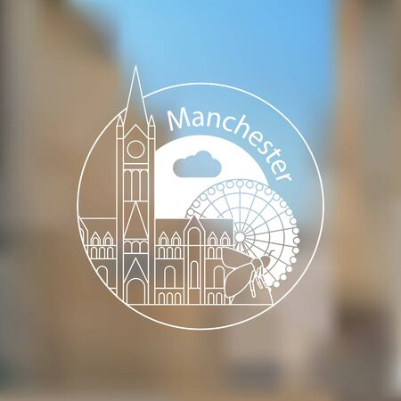 Manchester England, detailed silhouette. Trendy vector illustration