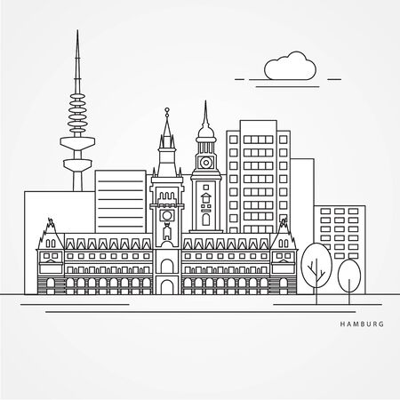 Hamburg detailed silhouette. Trendy vector illustration, flat style. Stylish landmarks. Ilustração