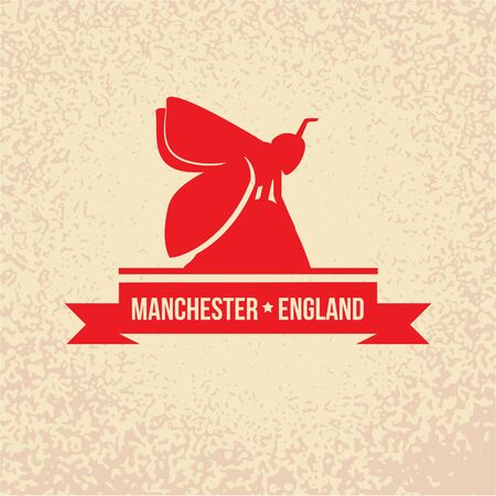 Manchester England, detailed silhouette. Trendy vector illustration, flat style. Stylish colorful landmarks. The concept for a web banner. Business icon Illusztráció