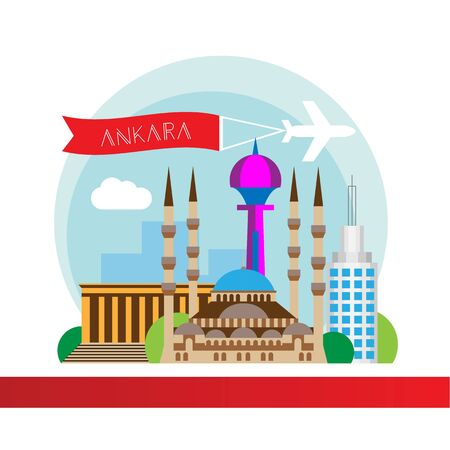 Ankara, Turkey detailed silhouette. Trendy vector illustration, flat style. Stylish colorful landmarks. The concept for a web banner. Business icon