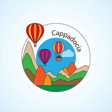 Cappadocia, Turkey detailed silhouette. Trendy vector illustration, flat style. Stylish colorful landmarks. The concept for a web banner. Business icon Ilustração