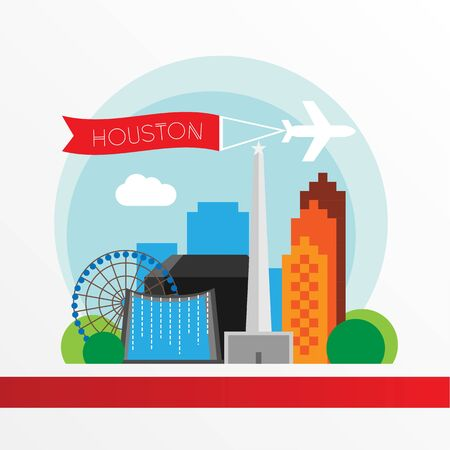 Houston USA, detailed silhouette. Trendy vector illustration, flat style. Stylish andmark. Concept for a web banner. Business travel icon Illusztráció