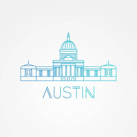 Austin USA, detailed silhouette. Trendy vector illustration, flat style. Stylish andmark. Concept for a web banner. Business travel icon Illusztráció