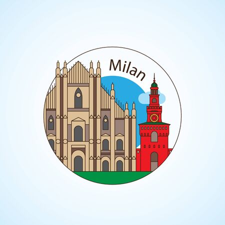 Milan Italy vector Detailed silhouette. Trendy vector illustration, flat style. Round colorful landmarks. The concept for a web banner or travel logo