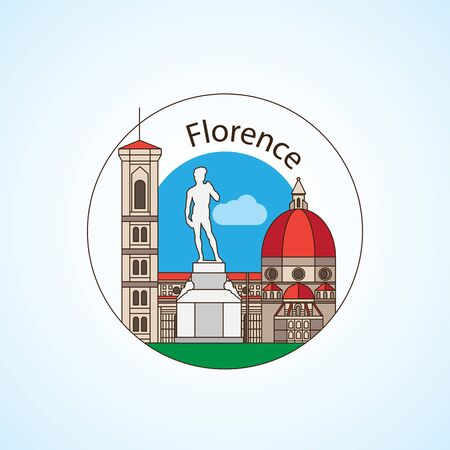 Florence Italy Detailed silhouette. Trendy vector illustration, flat style. Round colorful landmarks. The concept for a web banner or travel logo Illusztráció