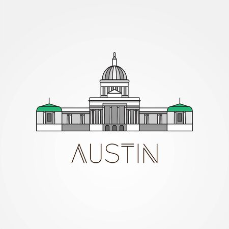 Austin USA, detailed silhouette. Trendy vector illustration, flat style. Stylish andmark. Concept for a web banner. Business travel icon Ilustração
