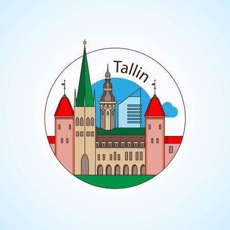 Tallin Estland Detaillierte Silhouette