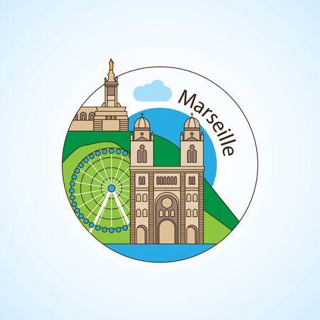 Notre-Dame de la Garde and - The symbol of Marseille, France Illustration