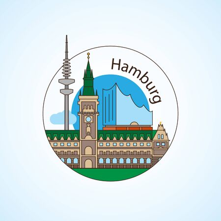 Hamburg Germany Detailed silhouette