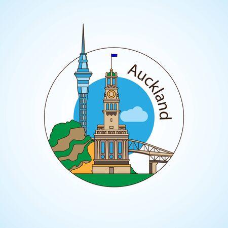 Auckland New Zeland Detailed silhouette Ilustração