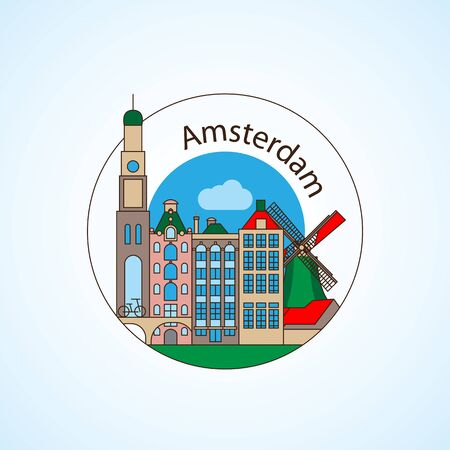 Amcterdam Netherlands Detailed silhouette