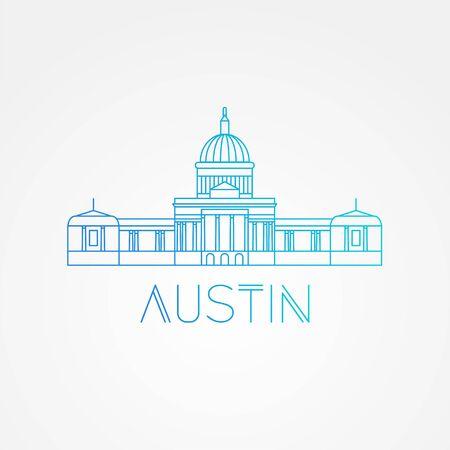 Austin USA, detailed silhouette Ilustração