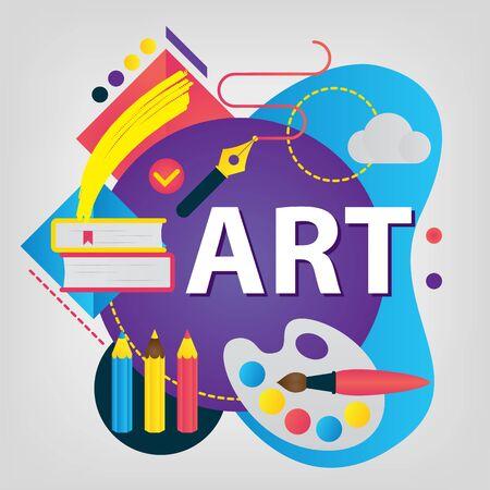 Art creation. Back to school concept. Set of School supplies. Linear style web banner Ilustração