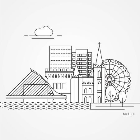 Dublin Ireland, detailed silhouette. Trendy vector illustration, flat style. Stylish colorful landmarks. The concept for a web banner. Business icon Imagens - 130122911