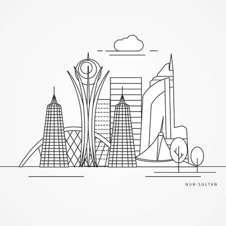 Nur-Sultan detailed silhouette