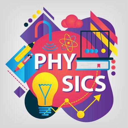 Physics, Back to school concept. Set of School supplies. Linear style web banner Ilustração