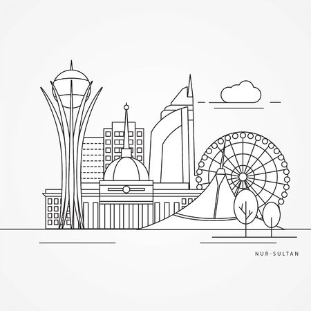 Nur-Sultan detailed silhouette. Trendy vector illustration, flat style. Stylish colorful landmarks. Bayterek tower the symbol of Astana, Kazakhstan