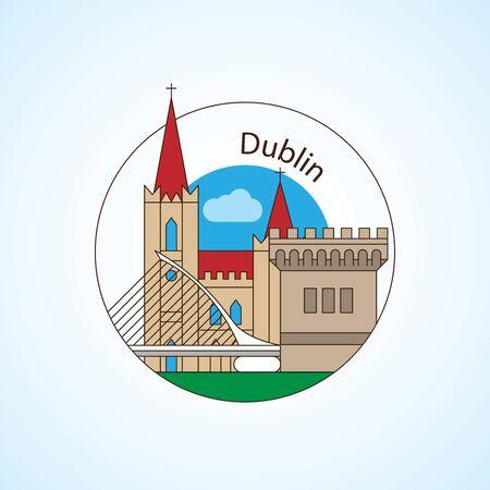 Dublin Ireland, detailed silhouette