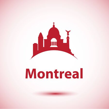Montreal Canada detailed silhouette. Trendy vector illustration, flat style. Stylish colorful landmarks. The concept for a web banner. St Joseph Oratory
