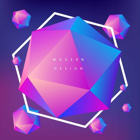 Modern background design. Gradient web banner. Geometry polygon composition. Blend colors. Ilustrace