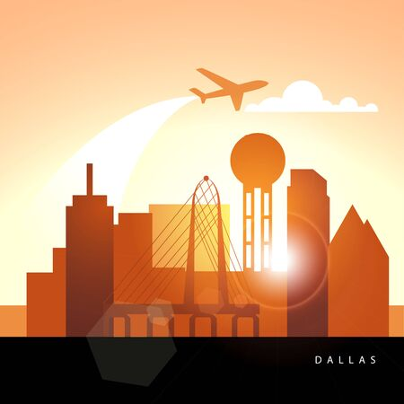 Dallas USA detailed silhouette. Trendy vector illustration, flat style. Stylish colorful landmarks. The concept for a web banner. Business travel icon 版權商用圖片 - 135716787