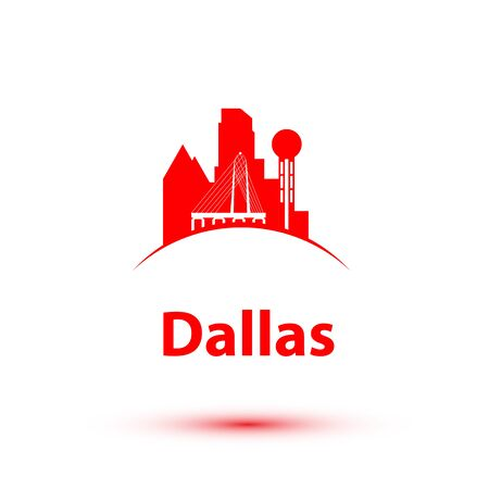 Dallas USA detailed silhouette. Trendy vector illustration, flat style. Stylish colorful landmarks. The concept for a web banner. Business travel icon 版權商用圖片 - 135716791