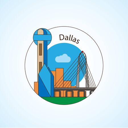 Dallas USA detailed silhouette. Trendy vector illustration, flat style. Stylish colorful landmarks. The concept for a web banner. Business travel icon