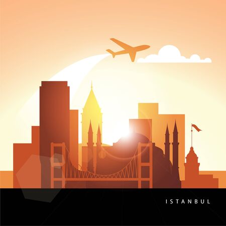 Istanbul Turkey, detailed silhouette. Trendy vector illustration, flat style. Stylish colorful landmarks. The concept for a web banner. Business icon