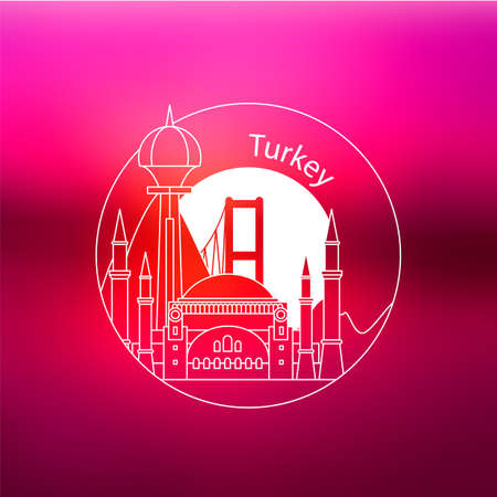 Turkey detailed silhouette. Trendy vector illustration, flat style. Stylish colorful landmarks. 向量圖像