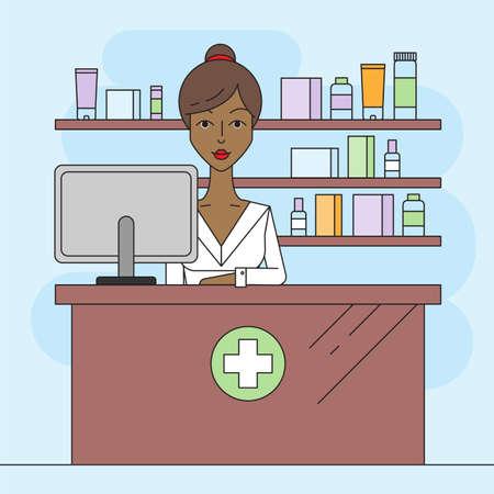 Black woman pharmacist in pharmacy. Trendy vector illustration