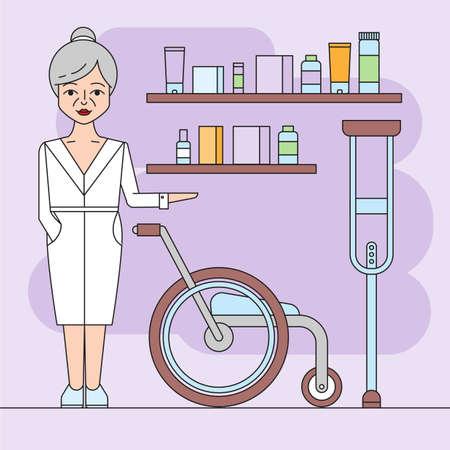 Orthopedics store design. Trendy vector illustration