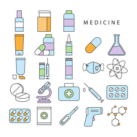 Pharmacy icon set design Trendy vector illustration
