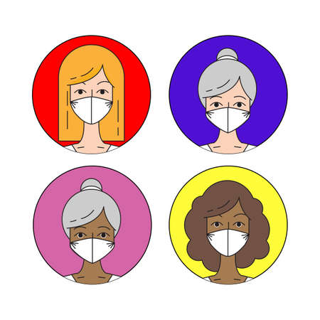 Different race and ages woman in antivirus mask. Userpics design. Trendy vector illustration 向量圖像