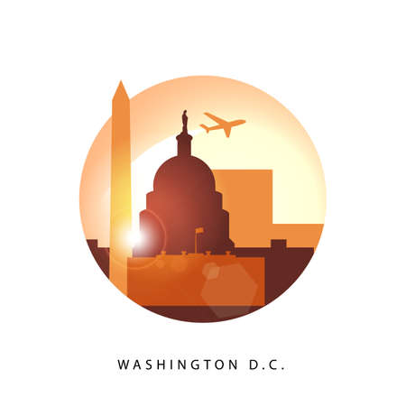 Washington DC United States detailed silhouette.