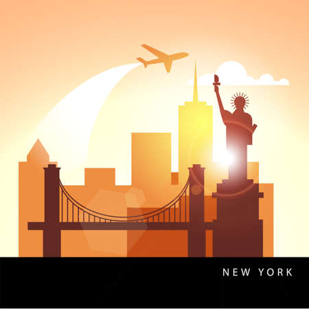 United States New York detailed silhouette. Ilustrace