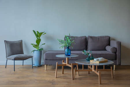 gray sofa with pillows, armchair, table and vase of flowers