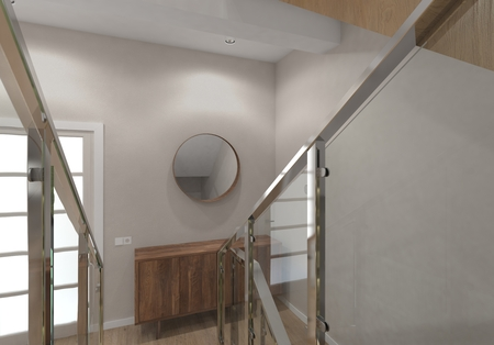 Modern staircase of the house.