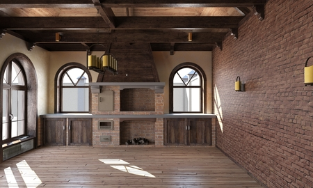 The interior of the kitchen in a rustic style. 3d render