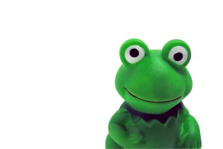 The Toy merry frog. The Frog is insulated on white background.
