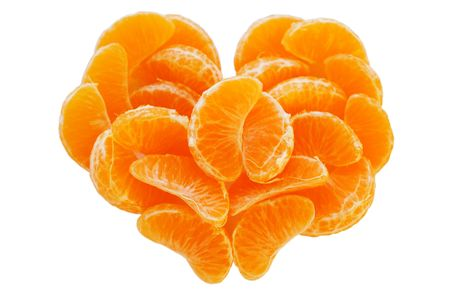 The Juicy segments of the tangerine. photo