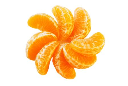 The Juicy segments of the tangerine. The Citrus background.