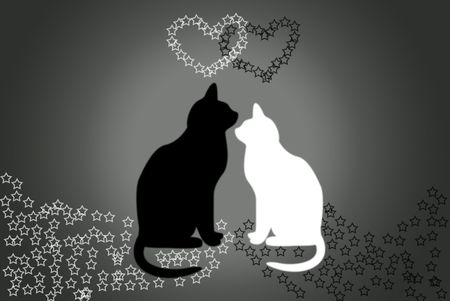 The Black cat and blanching cat. Two hearts met.