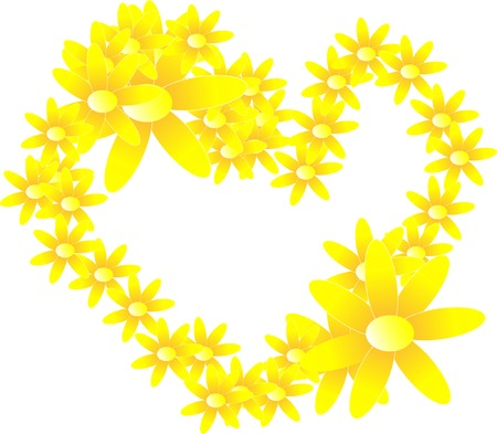 The Heart from yellow colour. Much beautiful daisywheels. Illustration