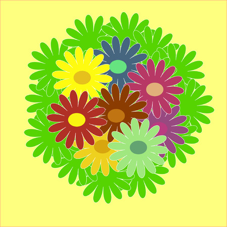 The Bouquet from varicoloured colour. The Bright daisywheels. Stock Vector - 6197598