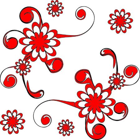 The Bright red flowerses. Much beautiful daisywheels. Illustration