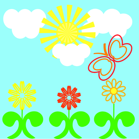 The Drawing merry summer. The Flowerses, sun and flying butterfly. Vector