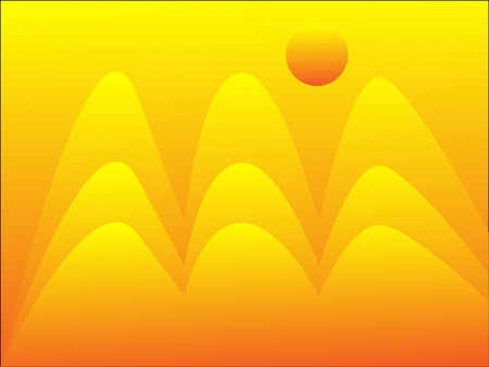 The Abstract background.The Orange mountains and sun.