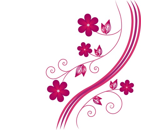 flowerses: The Red flowerses. The Floral background. Illustration